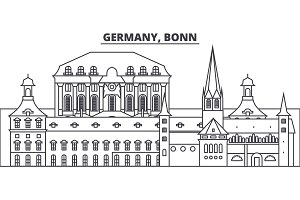 Germany, Bonn line skyline vector illustration. Germany, Bonn linear cityscape with famous landmarks, city sights, vector landscape.
