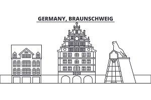 Germany, Braunschweig line skyline vector illustration. Germany, Braunschweig linear cityscape with famous landmarks, city sights, vector landscape.