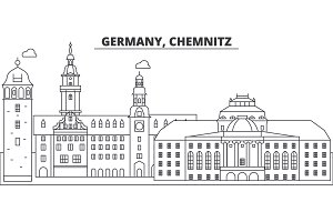 Germany, Chemnitz line skyline vector illustration. Germany, Chemnitz linear cityscape with famous landmarks, city sights, vector landscape.