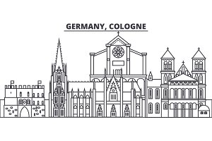 Germany, Cologne line skyline vector illustration. Germany, Cologne linear cityscape with famous landmarks, city sights, vector landscape.