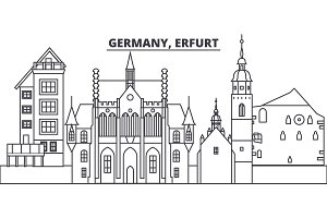Germany, Erfurt line skyline vector illustration. Germany, Erfurt linear cityscape with famous landmarks, city sights, vector landscape.