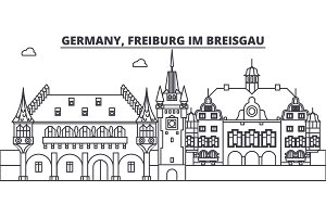 Germany, Freiburg Im Breisgau line skyline vector illustration. Germany, Freiburg Im Breisgau linear cityscape with famous landmarks, city sights, vector landscape.