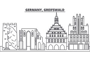 Germany, Greifswald line skyline vector illustration. Germany, Greifswald linear cityscape with famous landmarks, city sights, vector landscape.