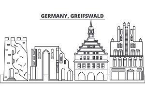 Germany, Greifswald line skyline vector illustration. Germany, Greifswald linear cityscape with famous landmarks, city sights, vector landscape.