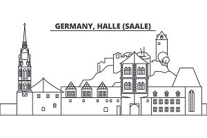 Germany, Halle Saale line skyline vector illustration. Germany, Halle Saale linear cityscape with famous landmarks, city sights, vector landscape.