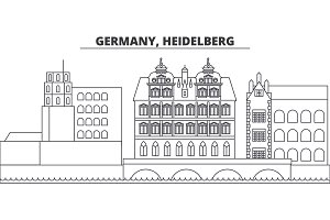 Germany, Heidelberg line skyline vector illustration. Germany, Heidelberg linear cityscape with famous landmarks, city sights, vector landscape.