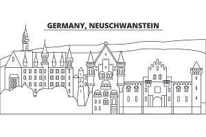 Germany, Neuschwanstein line skyline vector illustration. Germany, Neuschwanstein linear cityscape with famous landmarks, city sights, vector landscape.