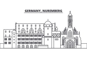 Germany, Nuremberg line skyline vector illustration. Germany, Nuremberg linear cityscape with famous landmarks, city sights, vector landscape.