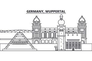 Germany, Wuppertal line skyline vector illustration. Germany, Wuppertal linear cityscape with famous landmarks, city sights, vector landscape.