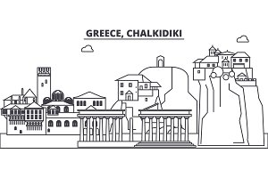 Greece, Chalkidiki line skyline vector illustration. Greece, Chalkidiki linear cityscape with famous landmarks, city sights, vector landscape.