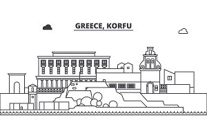 Greece, Korfu line skyline vector illustration. Greece, Korfu linear cityscape with famous landmarks, city sights, vector landscape.