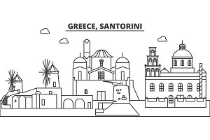 Greece, Santorini line skyline vector illustration. Greece, Santorini linear cityscape with famous landmarks, city sights, vector landscape.