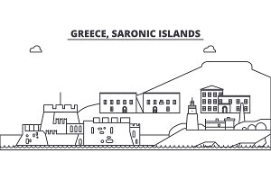 Greece, Saronic Islands line skyline vector illustration. Greece, Saronic Islands linear cityscape with famous landmarks, city sights, vector landscape.