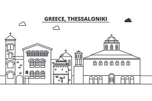 Greece, Thessaloniki line skyline vector illustration. Greece, Thessaloniki linear cityscape with famous landmarks, city sights, vector landscape.
