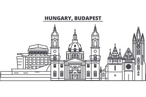Hungary, Budapest line skyline vector illustration. Hungary, Budapest linear cityscape with famous landmarks, city sights, vector landscape.
