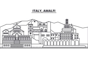 Italy, Amalfi line skyline vector illustration. Italy, Amalfi linear cityscape with famous landmarks, city sights, vector landscape.