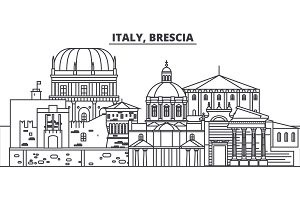 Italy, Brescia line skyline vector illustration. Italy, Brescia linear cityscape with famous landmarks, city sights, vector landscape.