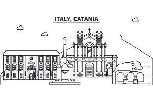 Italy, Catania line skyline vector illustration. Italy, Catania linear cityscape with famous landmarks, city sights, vector landscape.