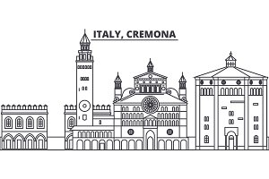 Italy, Cremona line skyline vector illustration. Italy, Cremona linear cityscape with famous landmarks, city sights, vector landscape.