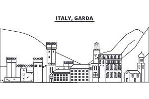 Italy, Garda line skyline vector illustration. Italy, Garda linear cityscape with famous landmarks, city sights, vector landscape.