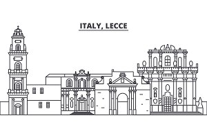 Italy, Lecce line skyline vector illustration. Italy, Lecce linear cityscape with famous landmarks, city sights, vector landscape.