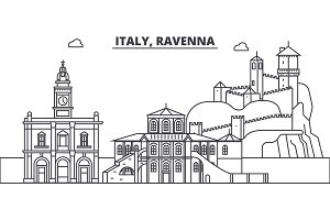 Italy, Ravenna line skyline vector illustration. Italy, Ravenna linear cityscape with famous landmarks, city sights, vector landscape.