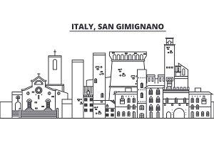 Italy, San Gimignano line skyline vector illustration. Italy, San Gimignano linear cityscape with famous landmarks, city sights, vector landscape.