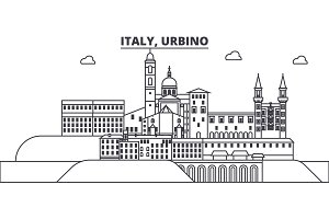 Italy, Urbino line skyline vector illustration. Italy, Urbino linear cityscape with famous landmarks, city sights, vector landscape.