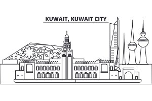 Kuwait, Kuwait City line skyline vector illustration. Kuwait, Kuwait City linear cityscape with famous landmarks, city sights, vector landscape.