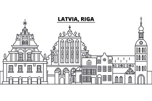 Latvia, Riga line skyline vector illustration. Latvia, Riga linear cityscape with famous landmarks, city sights, vector landscape.