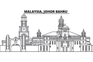 Malaysia, Johor Bahru line skyline vector illustration. Malaysia, Johor Bahru linear cityscape with famous landmarks, city sights, vector landscape.