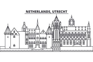 Netherlands, Utrecht line skyline vector illustration. Netherlands, Utrecht linear cityscape with famous landmarks, city sights, vector landscape.