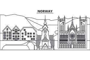 Norway line skyline vector illustration. Norway linear cityscape with famous landmarks, city sights, vector landscape.