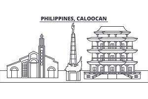 Philippines, Caloocan line skyline vector illustration. Philippines, Caloocan linear cityscape with famous landmarks, city sights, vector landscape.