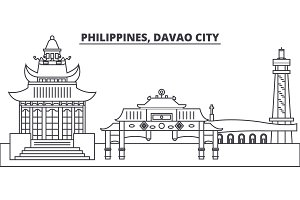Philippines, Davao City line skyline vector illustration. Philippines, Davao City linear cityscape with famous landmarks, city sights, vector landscape.