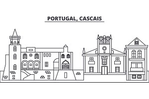Portugal, Cascais line skyline vector illustration. Portugal, Cascais linear cityscape with famous landmarks, city sights, vector landscape.