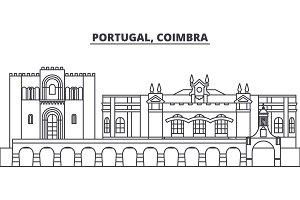 Portugal, Coimbra line skyline vector illustration. Portugal, Coimbra linear cityscape with famous landmarks, city sights, vector landscape.
