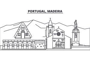 Portugal, Madeira line skyline vector illustration. Portugal, Madeira linear cityscape with famous landmarks, city sights, vector landscape.