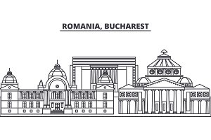 Romania, Bucharest line skyline vector illustration. Romania, Bucharest linear cityscape with famous landmarks, city sights, vector landscape.
