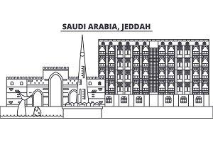 Saudi Arabia, Jeddah line skyline vector illustration. Saudi Arabia, Jeddah linear cityscape with famous landmarks, city sights, vector landscape.