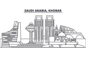 Saudi Arabia, Khobar line skyline vector illustration. Saudi Arabia, Khobar linear cityscape with famous landmarks, city sights, vector landscape.