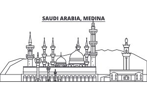 Saudi Arabia, Medina line skyline vector illustration. Saudi Arabia, Medina linear cityscape with famous landmarks, city sights, vector landscape.