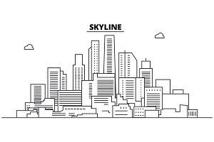 Skyline line skyline vector illustration. Skyline linear cityscape with famous landmarks, city sights, vector landscape.