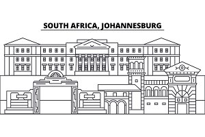 South Africa, Johannesburg line skyline vector illustration. South Africa, Johannesburg linear cityscape with famous landmarks, city sights, vector landscape.