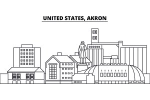 United States, Akron line skyline vector illustration. South Aunited States, Akron linear cityscape with famous landmarks, city sights, vector landscape.