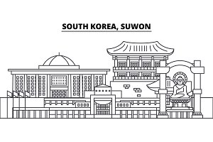 South Korea, Suwon line skyline vector illustration. South Korea, Suwon linear cityscape with famous landmarks, city sights, vector landscape.