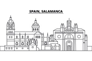 Spain, Salamanca line skyline vector illustration. Spain, Salamanca linear cityscape with famous landmarks, city sights, vector landscape.