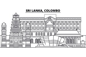 Sri Lanka, Colombo line skyline vector illustration. Sri Lanka, Colombo linear cityscape with famous landmarks, city sights, vector landscape.