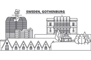 Sweden, Gothenburg line skyline vector illustration. Sweden, Gothenburg linear cityscape with famous landmarks, city sights, vector landscape.