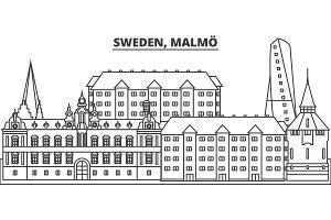 Sweden, Gothenburg line skyline vector illustration. Sweden, Gothenburg linear cityscape with famous landmarks, city sights, vector design landscape.